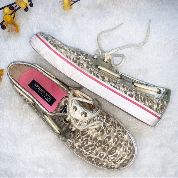 Sperry Other - SPERRY 4 Youth Topsiders Gold Camo Print Sequins